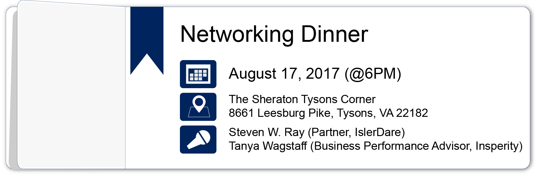 Networking Dinner – August 17, 2017